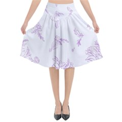Beautiful,violet,floral,shabby Chic,pattern Flared Midi Skirt by 8fugoso