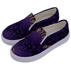 Art Nouveau,vintage,damask,gold,purple,antique,beautiful Kids  Canvas Slip Ons by 8fugoso