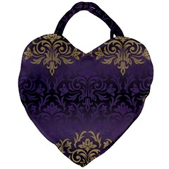 Art Nouveau,vintage,damask,gold,purple,antique,beautiful Giant Heart Shaped Tote by 8fugoso