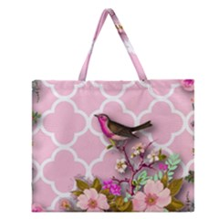 Shabby Chic, Floral,pink,birds,cute,whimsical Zipper Large Tote Bag by 8fugoso