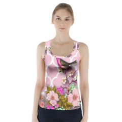 Shabby Chic, Floral,pink,birds,cute,whimsical Racer Back Sports Top by 8fugoso