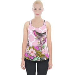 Shabby Chic, Floral,pink,birds,cute,whimsical Piece Up Tank Top