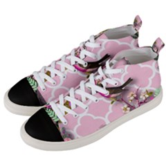 Shabby Chic, Floral,pink,birds,cute,whimsical Men s Mid Top Canvas Sneakers by 8fugoso