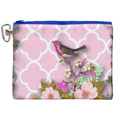 Shabby Chic, Floral,pink,birds,cute,whimsical Canvas Cosmetic Bag (xxl) by 8fugoso