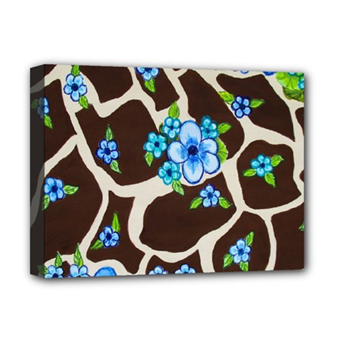 Floral Giraffe Print Deluxe Canvas 16  X 12