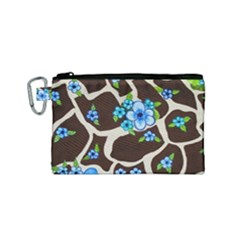 Floral Giraffe Print Canvas Cosmetic Bag (small) by dawnsiegler