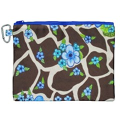 Floral Giraffe Print Canvas Cosmetic Bag (xxl) by dawnsiegler