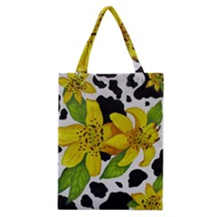 Floral Cow Print Classic Tote Bag by dawnsiegler