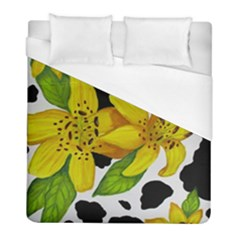 Floral Cow Print Duvet Cover (full/ Double Size) by dawnsiegler