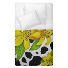 Floral Cow Print Duvet Cover (single Size) by dawnsiegler