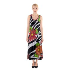 Floral Zebra Print Sleeveless Maxi Dress by dawnsiegler