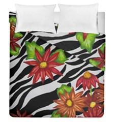 Floral Zebra Print Duvet Cover Double Side (queen Size) by dawnsiegler