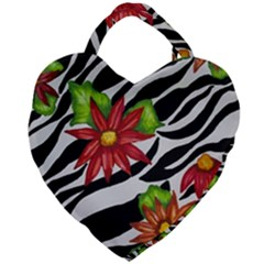 Floral Zebra Print Giant Heart Shaped Tote by dawnsiegler