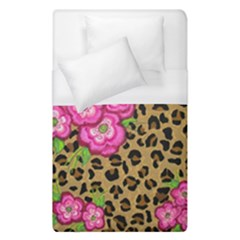Floral Leopard Print Duvet Cover (single Size) by dawnsiegler