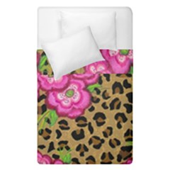 Floral Leopard Print Duvet Cover Double Side (single Size) by dawnsiegler