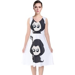 Cute Grim Reaper V Neck Midi Sleeveless Dress
