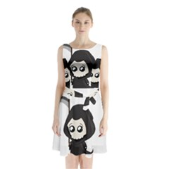 Cute Grim Reaper Sleeveless Waist Tie Chiffon Dress