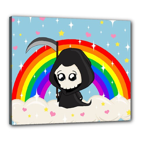 Cute Grim Reaper Canvas 24  X 20  by Valentinaart