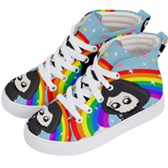 Cute Grim Reaper Kid s Hi Top Skate Sneakers by Valentinaart