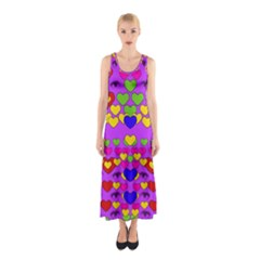 I Love This Lovely Hearty One Sleeveless Maxi Dress by pepitasart