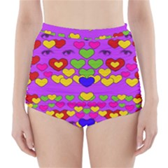 I Love This Lovely Hearty One High Waisted Bikini Bottoms by pepitasart