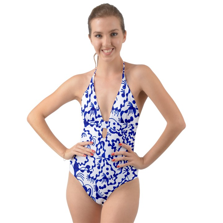 DNA SQUARE  STAIRWAY Halter Cut-Out One Piece Swimsuit