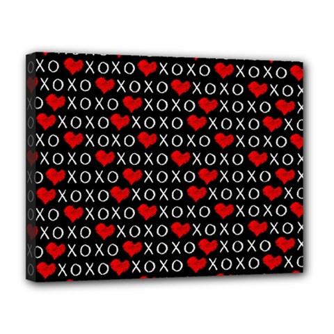 Xoxo Valentines Day Pattern Canvas 14  X 11  by Valentinaart
