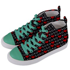 Xoxo Valentines Day Pattern Women s Mid Top Canvas Sneakers by Valentinaart