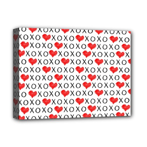 Xoxo Valentines Day Pattern Deluxe Canvas 16  X 12   by Valentinaart