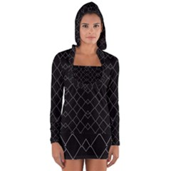 Black And White Grid Pattern Long Sleeve Hooded T-shirt by dflcprints
