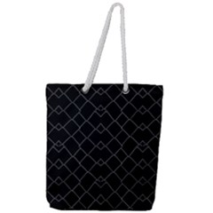 Black And White Grid Pattern Full Print Rope Handle Tote (large)