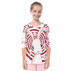 White Rabbit In Wonderland Kids  Quarter Sleeve Raglan Tee