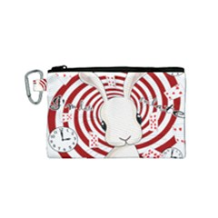 White Rabbit In Wonderland Canvas Cosmetic Bag (small) by Valentinaart