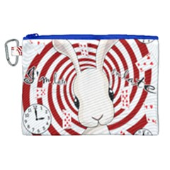White Rabbit In Wonderland Canvas Cosmetic Bag (xl)