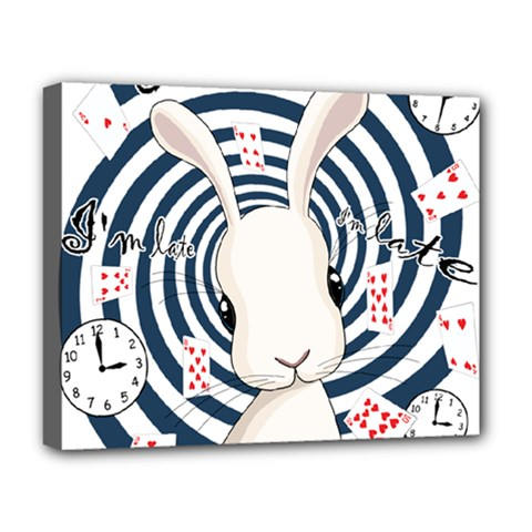 White Rabbit In Wonderland Deluxe Canvas 20  X 16   by Valentinaart