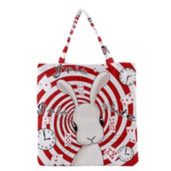 White Rabbit In Wonderland Grocery Tote Bag by Valentinaart