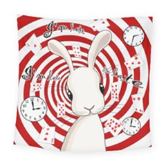 White Rabbit In Wonderland Square Tapestry (large)