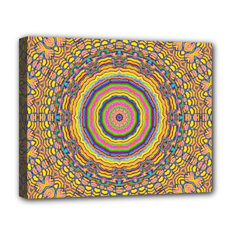 Wood Festive Rainbow Mandala Deluxe Canvas 20  X 16   by pepitasart