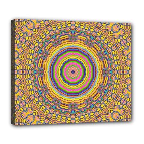 Wood Festive Rainbow Mandala Deluxe Canvas 24  X 20   by pepitasart
