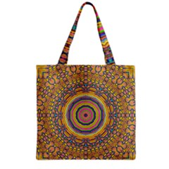 Wood Festive Rainbow Mandala Grocery Tote Bag by pepitasart