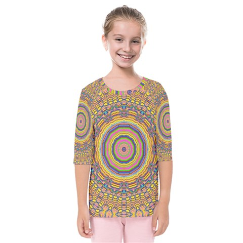 Wood Festive Rainbow Mandala Kids  Quarter Sleeve Raglan Tee by pepitasart