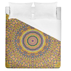 Wood Festive Rainbow Mandala Duvet Cover (queen Size) by pepitasart