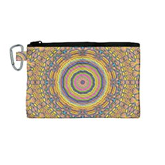 Wood Festive Rainbow Mandala Canvas Cosmetic Bag (medium) by pepitasart