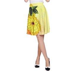 Background Flowers Yellow Bright A Line Skirt