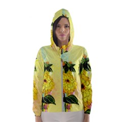 Background Flowers Yellow Bright Hooded Wind Breaker (women)