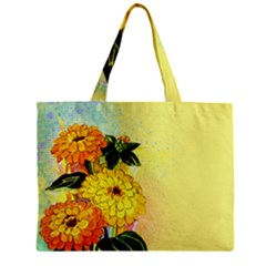Background Flowers Yellow Bright Zipper Mini Tote Bag