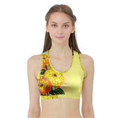 Background Flowers Yellow Bright Sports Bra With Border