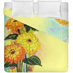 Background Flowers Yellow Bright Duvet Cover Double Side (king Size)