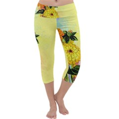 Background Flowers Yellow Bright Capri Yoga Leggings