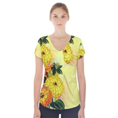 Background Flowers Yellow Bright Short Sleeve Front Detail Top